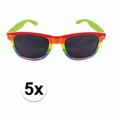 5x regenboog feest brillen voor volwassenen