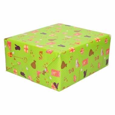 5x sinterklaas inpakpapier/cadeaupapier print groen 250 x 70 cm