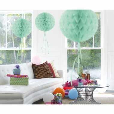 5x stuks decoratie bollen mint groen 30 cm