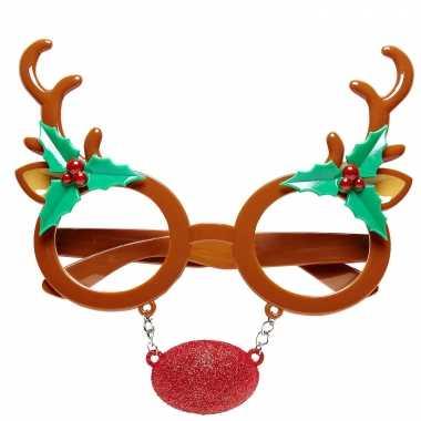 5x stuks rendier bril/feestbril kerst accessoires