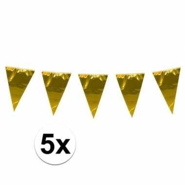 5x stuks xxl vlaggenlijnen goud 10 meter