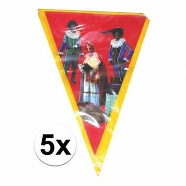 5x vlaggenlijn sinterklaas sint en piet 5 meter