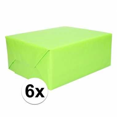 6 rollen kadopapier lime groen 200 x 70 cm op rol
