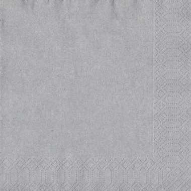 60x zilveren servetten 33 x 33 cm