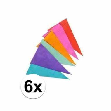 6x gekleurde vlaggenlijnen/vlaggetjes van papier