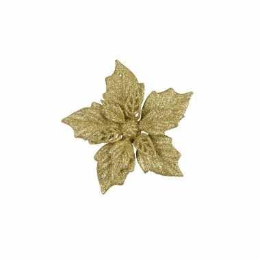 6x gouden decoratie bloem 12 cm op clip