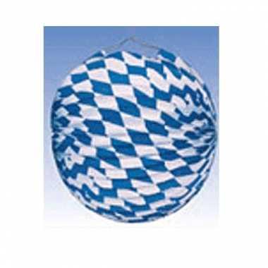 6x lampionnen decoratie blauw/wit 25 cm
