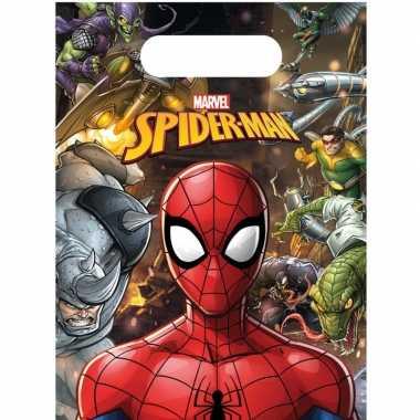 6x marvel spiderman themafeest uitdeelzakjes 16 x 23 cm