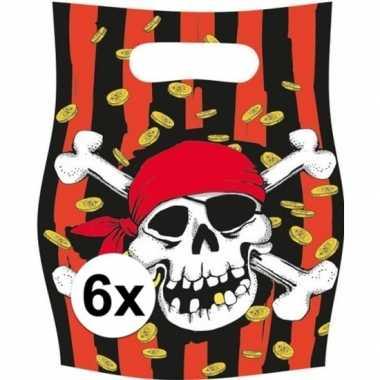 6x piraten themafeest feestzakjes/uitdeelzakjes jolly roger