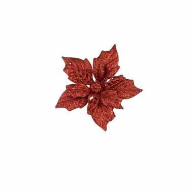 6x rode decoratie bloem 12 cm op clip