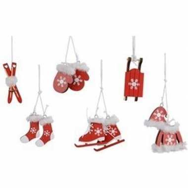 6x rode houten kerstversiering hangdecoraties 13 cm