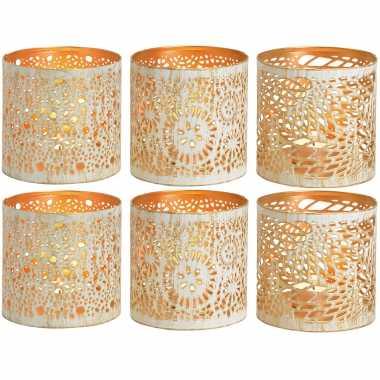 6x theelichthouders/waxinelichthouders windlichten set metaal wit/goud 11 cm
