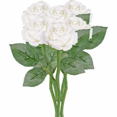 6x witte rozen/roos kunstbloemen 27 cm