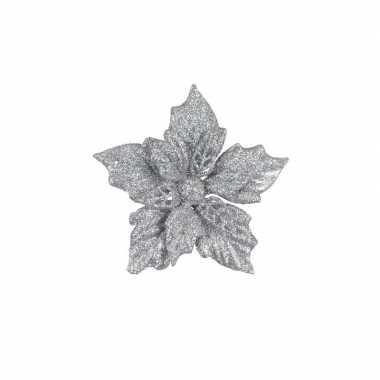 6x zilveren decoratie bloem 12 cm op clip.