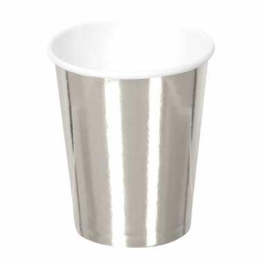 6x zilveren feest bekertjes van karton 250 ml
