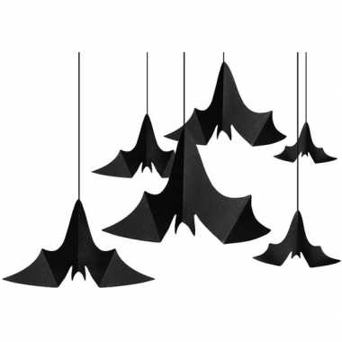 6x zwarte vleermuizen hangdecoraties van papier