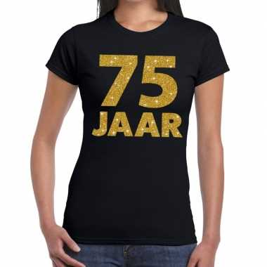 75 jaar goud glitter verjaardag/jubileum kado shirt zwart dames