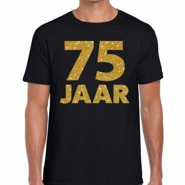 75 jaar goud glitter verjaardag/jubilieum kado shirt zwart heren