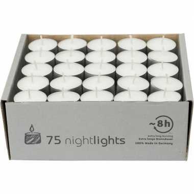 75x witte theelichtjes/waxinelichtjes 8 branduren