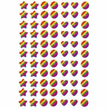 77x regenboog figuren stickers met 3d effect met zacht kunststo