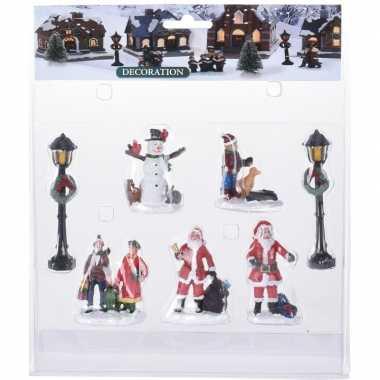 7x kerstdorp figuren/poppetjes type 3