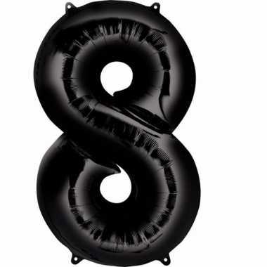 8 jaar versiering cijfer ballon zwart