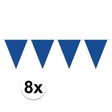 8 stuks blauwe vlaggetjes slinger van 10 meter