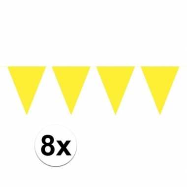 8 stuks gele vlaggetjes slinger van 10 meter