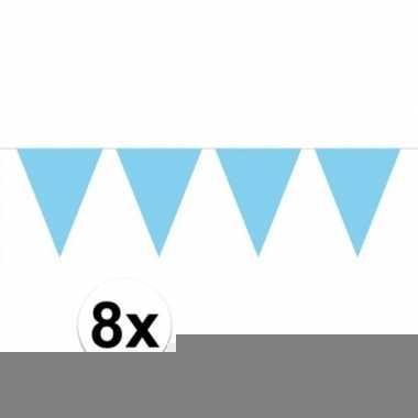 8 stuks lichtblauwe vlaggetjes slinger van 10 meter