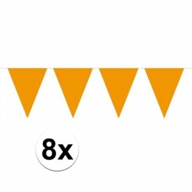 8 stuks oranje vlaggetjes slinger van 10 meter
