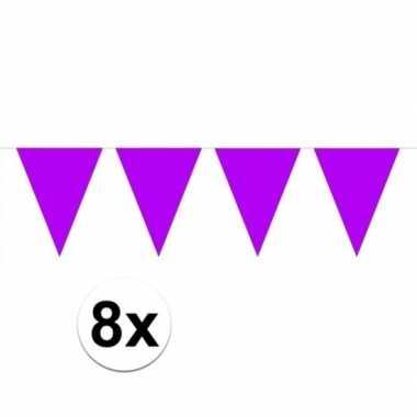 8 stuks paarse vlaggetjes slinger van 10 meter
