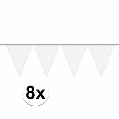 8 stuks witte vlaggetjes slinger van 10 meter