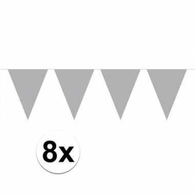 8 stuks zilveren vlaggetjes slinger van 10 meter