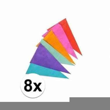 8x gekleurde vlaggenlijnen/vlaggetjes van papier