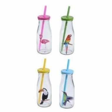 8x glazen drinkglazen/drinkflesjes vogelprint met rietje 230 ml