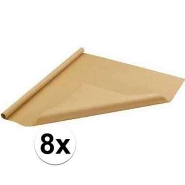 8x inpakpapier/cadeaupapier bruin 500 x 70 cm op rol