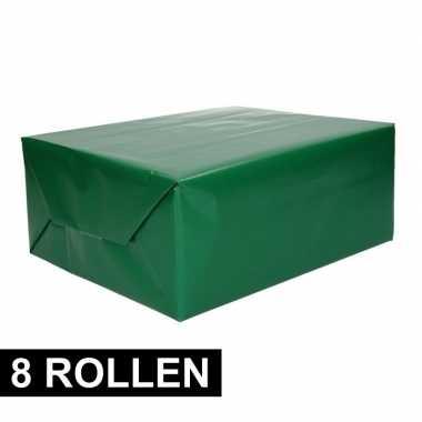 8x rollen inpakpapier/cadeaupapier groen 200 x 70 cm op rol