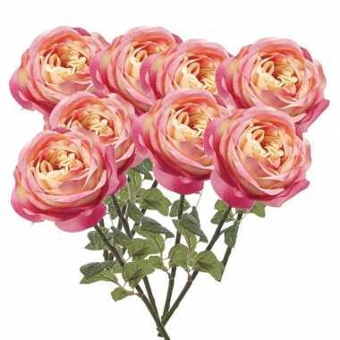 8x roze rozen kunstbloemen 66 cm