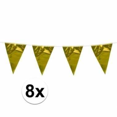 8x vlaggenlijn goud van 10 meter