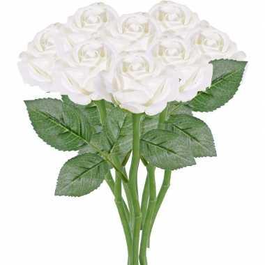 8x witte rozen/roos kunstbloemen 27 cm