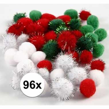 96x gekleurde knutsel pompons 15 20 mm trend