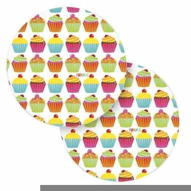 Acht papieren bordjes cupcake thema