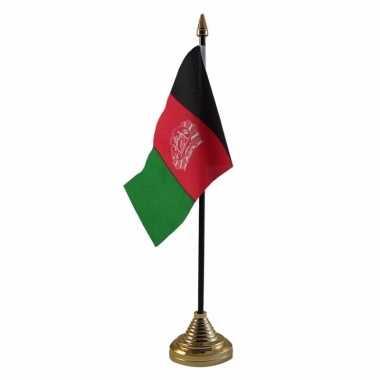 Afghanistan tafelvlaggetje 10 x 15 cm met standaard