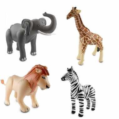 Afrika thema set olifant leeuw giraffe en zebra opblaas baar