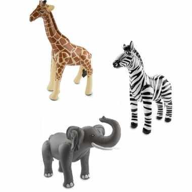 Afrika thema set zebra olifant en giraffe opblaas baar