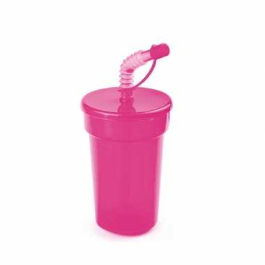 Afsluitbare sportbeker roze 400 ml