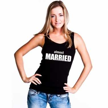 Almost married tekst singlet shirt/ tanktop zwart dames
