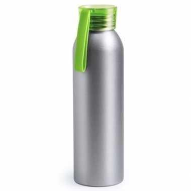 Aluminium drinkfles/waterfles met groene dop 650 ml