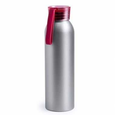 Aluminium drinkfles/waterfles met rode dop 650 ml