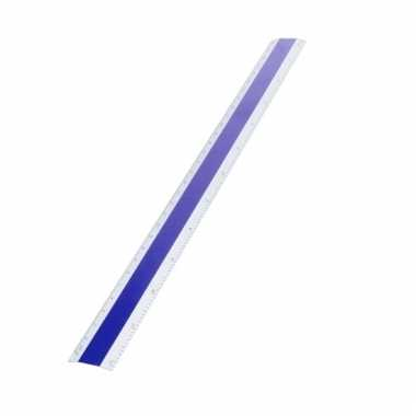 Aluminium liniaal 30 cm blauw